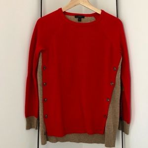 J Crew Colorblock Wool Sweater with Elbow Patches
